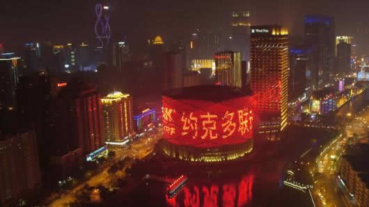 武汉地标广告-汉街汉秀剧场灯光秀广告